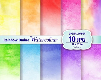 Ombre Rainbow Colour Watercolour Digital Paper Clip Art. Set of 10 JPG watercolor backgrounds / digital papers. Printable. Instant download.