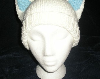 Handknit White Kitty Cat Hat with Blue Ears