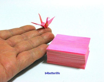 "200 Sheets 2"" x 2"" Pink Color DIY Chiyogami Yuzen Paper Folding Kit for Origami Cranes ""Tsuru"". (AV paper series). #CRK-26."
