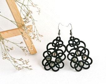 Black lace earrings Violets, black earrings, tatting lace earrings, tatted earrings, bridesmaid jewelry, statement earrings - art003
