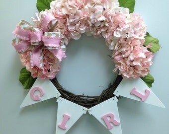 It's a Girl Wreath, Baby Girl Wreath, Birth Announcement, New Baby Door Hanger
