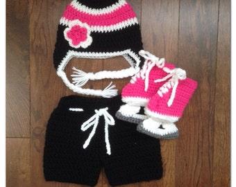 Baby Girl Crochet Hockey Set, Black Pink White Flower Hat, Breezer Hockey Pants and Double Sole Hockey Skates, Newborn, Baby, Photo Prop