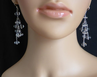 Crystal Quartz and Iolite Drop Earrings