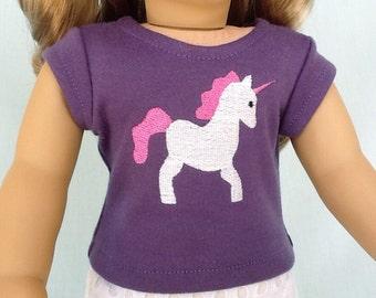 Unicorn T-Shirt for American Girl/18 Inch Doll