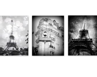 Black and White Paris Print Set of 3 in Back and White, Paris Print,