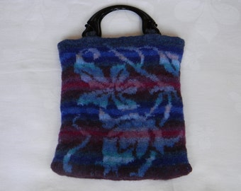 Felted hand-knit tote in blue turquoise purple pink--inspired by 16th century bookbinding, Italian handles, 2 pockets--Felted Bookbinding
