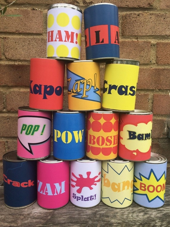 Super hero tin can alley game. 14 paper labels for tin cans.