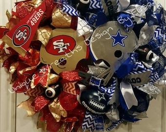 House Divided Wreath, Football Divided Wreath, Butting Helmet House Divided Wreath
