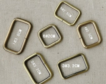 20 PCS, Various Sized Bronze Metal Squared Buckle for Bag Purse