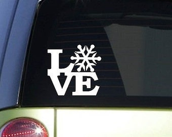 "Snow Love 6"" Sticker *F131* Decal Ski Slope Sled Skilift Winter Christmas Snowy"