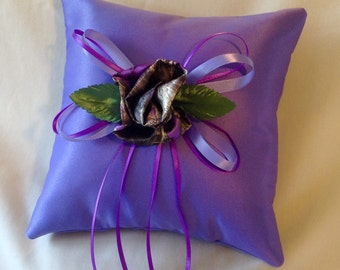 Ring Bearer Pillow with Purple Camo Flower