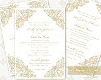 Printable Invitation Digital Template | Wedding Instant Download Invitation (5x7) | Baroque in Golden