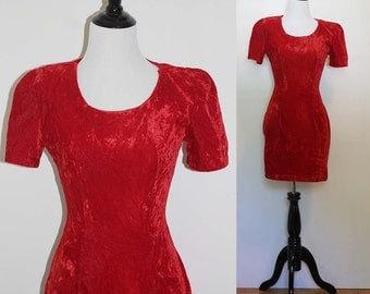 Vintage 1980s Red Velvet Party Dress