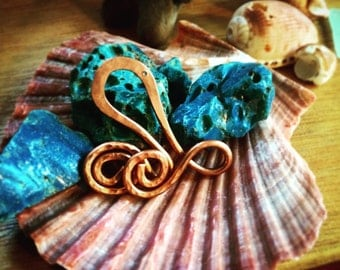 Octopus charm, recycled copper - sea creature necklace.