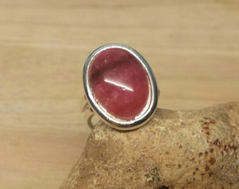 Silver plated Rhodochrosite ring. Crystal Reiki jewelry uk. Adjustable ring. Red Statement ring