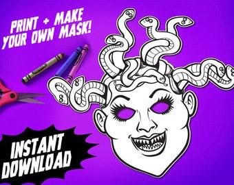 PRINTABLE Medusa Coloring Mask, kids paper halloween mask, DIY halloween costume for Halloween parties, greek mythology instant download PDF