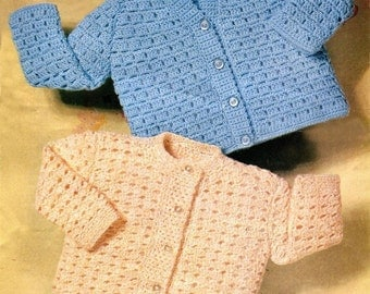 "CUTE CROCHETED CARDIGANS Pattern Newborn to 24 Months (2 sizes 18-22"") Baby Girls Boys * Vintage Instant Download Kenyon Pdf 1143"