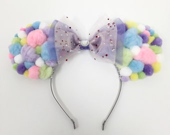 Pastel Pom Poms Disney Minnie Mouse Ears with Sparkly Tulle Bow
