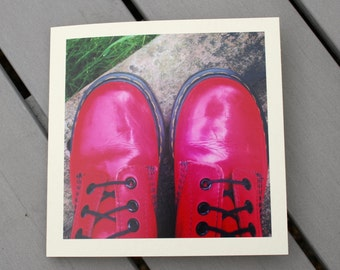 Cherry red Doctor  Marten boots birthday card, Dr martens photography card