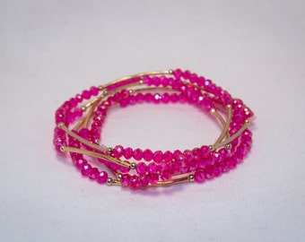 Magenta Elastic Beaded Bracelet with a hint of Gold