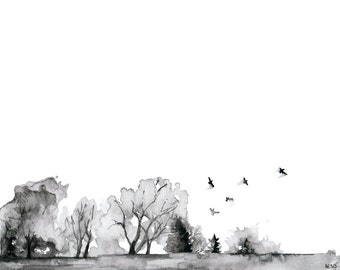 "Tree Line Painting - Print from Original Watercolor Painting, ""Quiet"", Watercolor Landscape, Black and White, Birds in Flight"