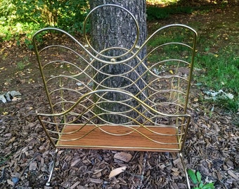 Vintage Mid Century Brass and Wood Grain Look Double Section Magazine Rack