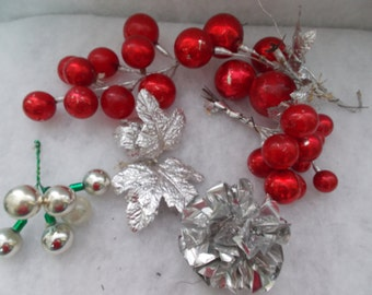 Christmas Decorations, Christmas Red and Silver Foil Decor