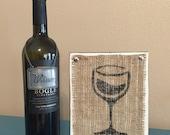Wine wood sign, wine glass, wine decor, wooden wine sign, kitchen decor, wine wall art, wine logo on burlap, wine sign, vino wood sign