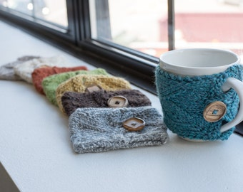 Coffee Mug Cozies with Buttons - Multiple Colors Available!