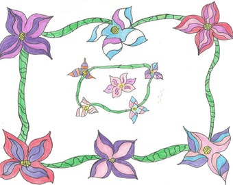 Blooming Vine Zentangle Coloring Page