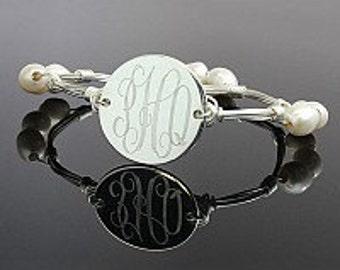 Monogrammed Bracelet, Gold wire wrap bracelet, Silver wire wrap bracelet