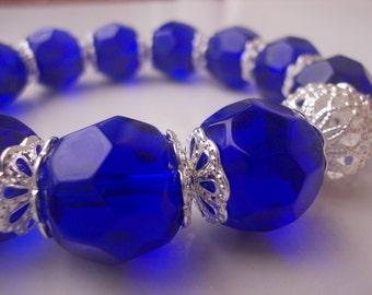 Chunky Royal Blue and Silver Beaded Stretch Bracelet