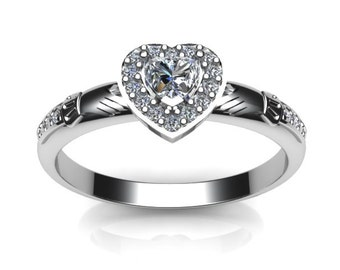 ladies stone set claddagh ring contemporary irish celtic claddagh ring - Irish Wedding Ring Sets