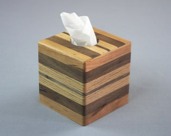 Kleenex® Tissue Box Cover - Handcrafted - Cold and Flu Season - Puffs® Tissue Box Cover - Wooden Strips - Bathroom, Home or Office Decor