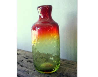 Vintage Colored, Heavy Glass Handblown Bottle