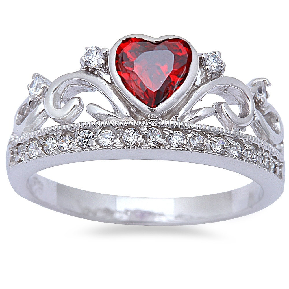 Heart Crown Ring Solid 925 Sterling Silver 0 74ct King Queen Garnet Russian Cz Ebay