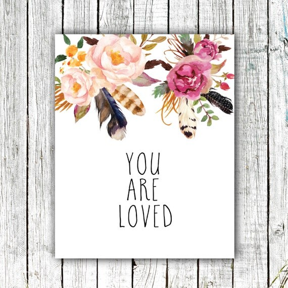 Nursery Art Printable, You are Loved, Floral, Feathers, Flowers, Pink, Art Prints, Size 8x10 #380