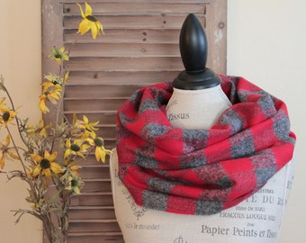 Red and Gray Cowl Scarf, Loop Scarf, Buffalo Check Scarf, Buffalo Plaid Scarf, Gift for Her