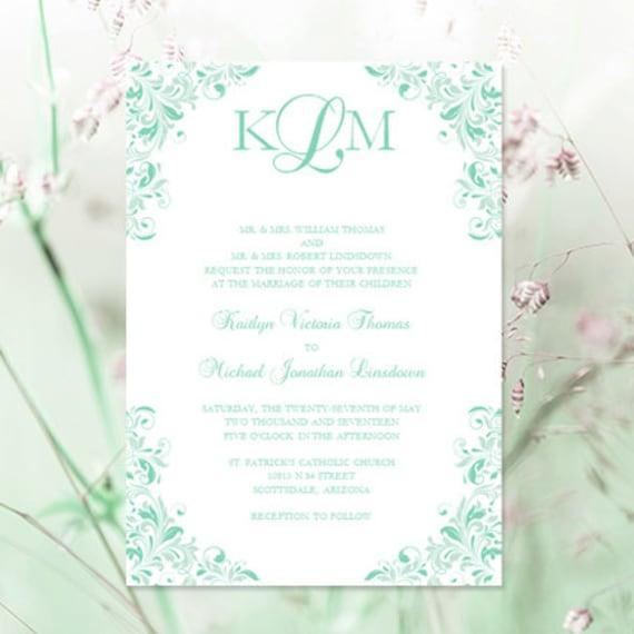 Seafoam Green Wedding Ideas: Mint & Seafoam Green Wedding Invitation By WeddingTemplates