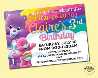 Care Bears Birthday Invite // DIGITAL FILE // CUSTOM Birthday Invitations