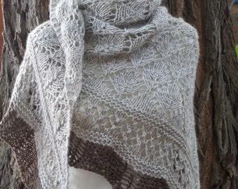 knit shawl-beige-brown merino tweed shawl-knit lace shawl-shawl-woman shawl-winter shawl wrap-fashion accessory-style-scarf-woman scarf