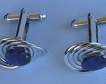 Vintage Dante signed silver plated  open design with blue sodalite cufflinks