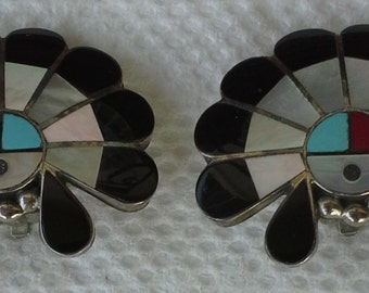 Vintage Zuni sun face sterling silver and multi stones inlay clip on earrings