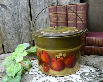 Vintage Tole Painted Lidded Pail - Hand Painted