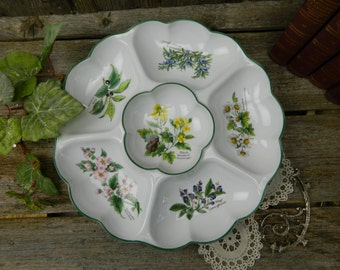 Vintage Royal Worcester Herbs Divided Serving Dish