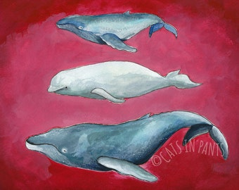 Stackable Whales Giclee Print