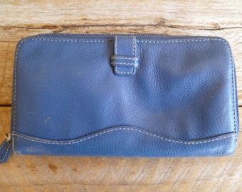 VintageTignanello Leather Wallet Coin Purse Blue