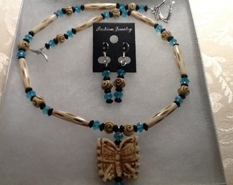 Bone Butterfly Necklace, and Earring Set
