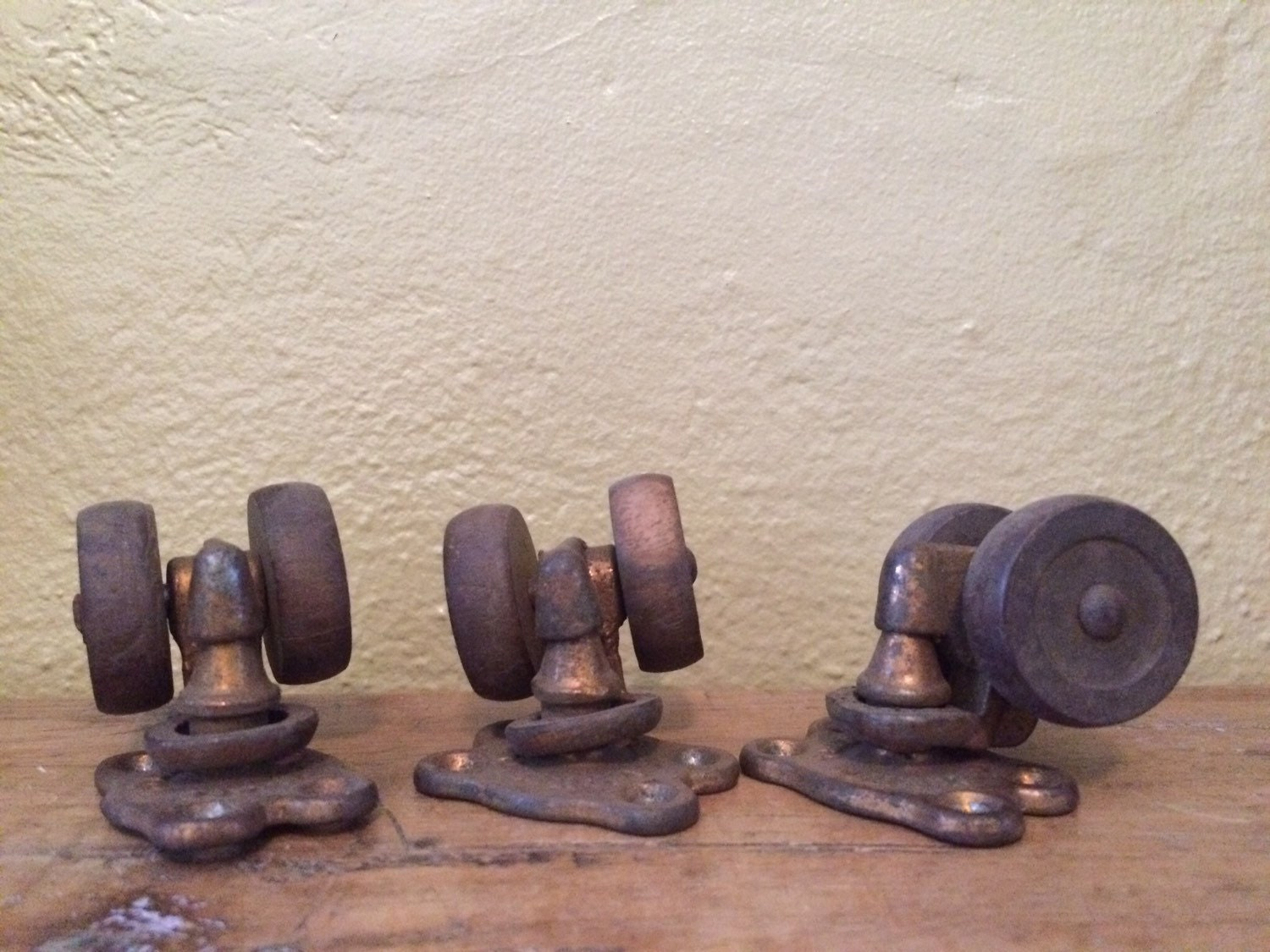 Antique Dual Wood Furniture Wheels Or Casters Set Of 3 Tucker