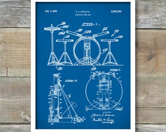 Patent Print, Drum Set Poster, Drum Set Patent, Drum Set Print, Drum Set Art, Drum Set Decor, Drum Set Wall Art, Drum Set Blueprint, P129